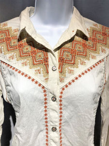 Holding Horses Anthropologie XS Cream Embroidered Top