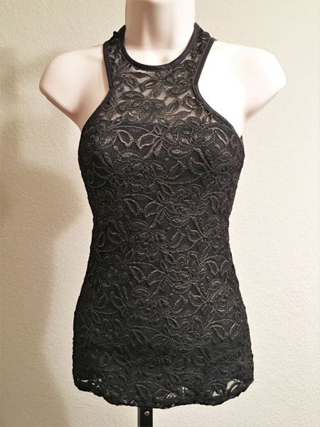 bebe XS Black & Gold Lace Racer Back Tank