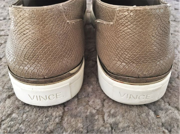 VINCE Size 8.5 Taupe Leather Snakeskin Sneakers