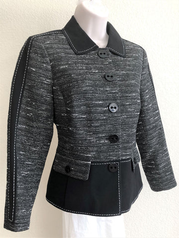 WORTH Size 2 Black Stripe Trim Blazer