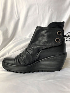 Fly London Size 7.5 Yebi Black Leather Boots