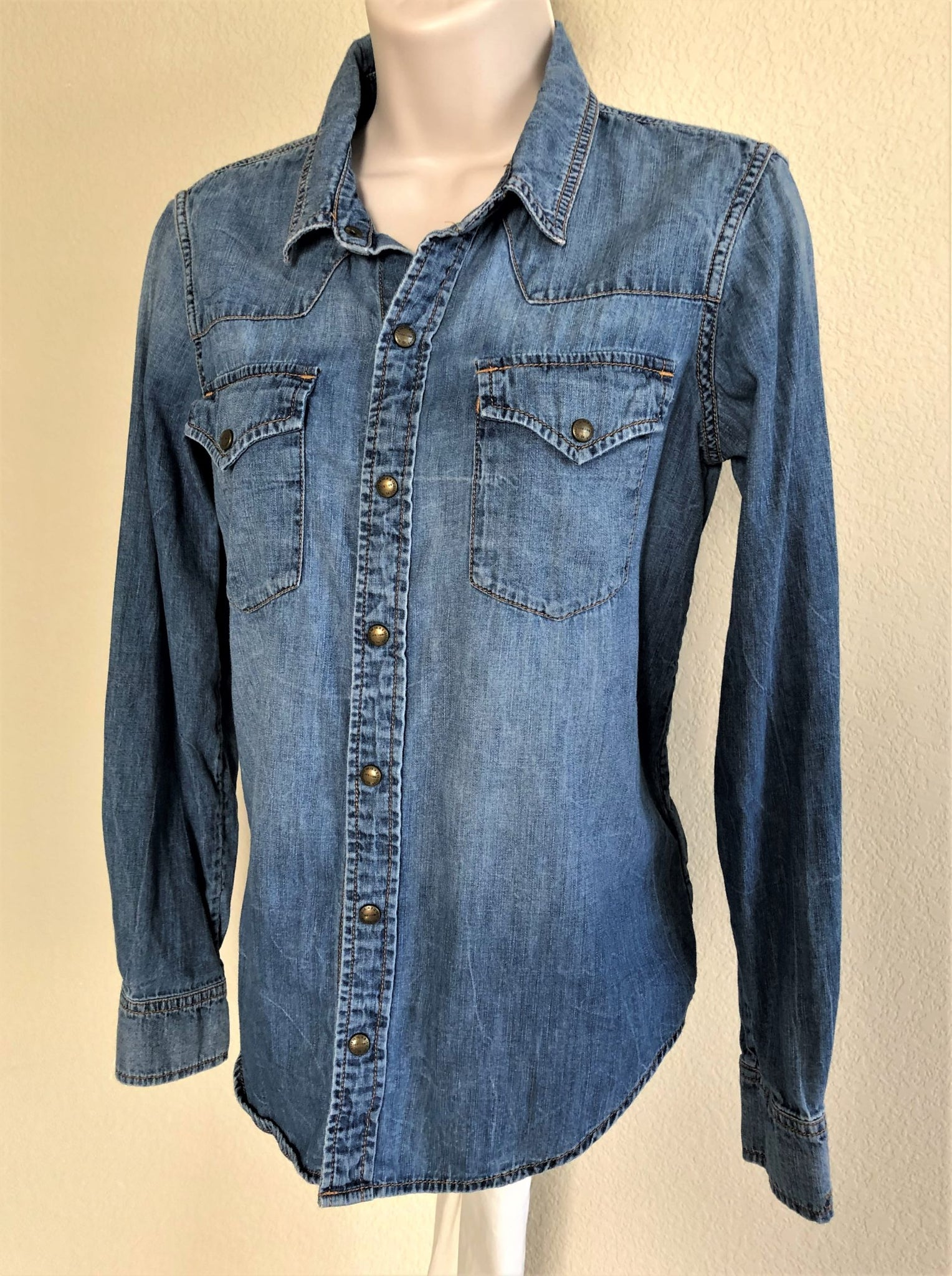 Current / Elliott Size Small Blue Chambray Shirt