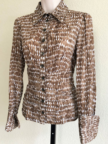 WORTH Size 2 Brown Print Ruched Blouse