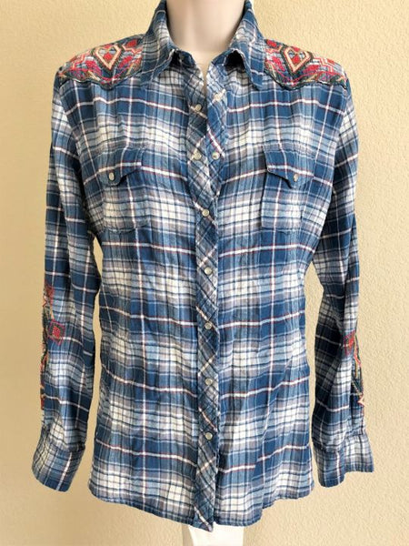 Johnny Was Size Medium Blue Plaid Embroidered Top