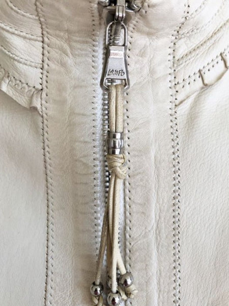 Benedetta Novi Size Medium Ivory Leather Jacket