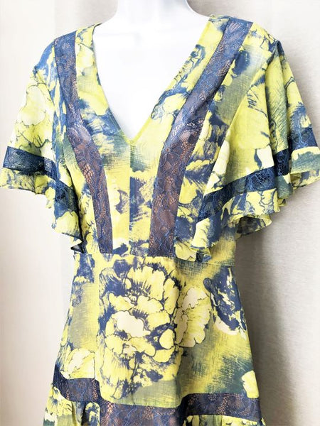 BCBGMaxazria Size 12 Blue and Yellow Floral Dress