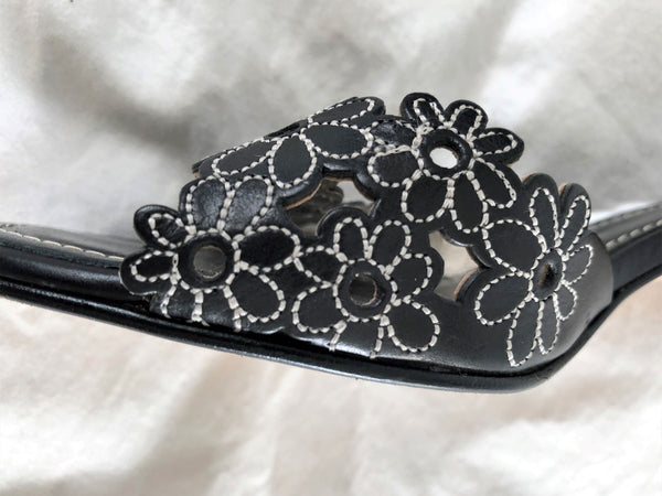 COACH Size 6.5 Black Floral Slides
