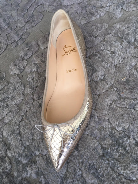 Christian Louboutin Size 8.5 Gold Leather Flats