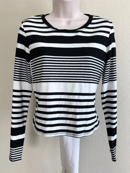 Trina Turk Size Small Black White Striped Top - NEW