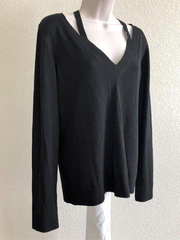 Theory Size Large Black Cut-out V-neck Top