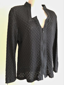 Anne Fontaine Size Medium Black Textured Top