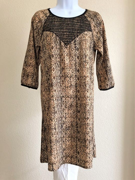 Maison Scotch Size Small Tan Tribal Dress