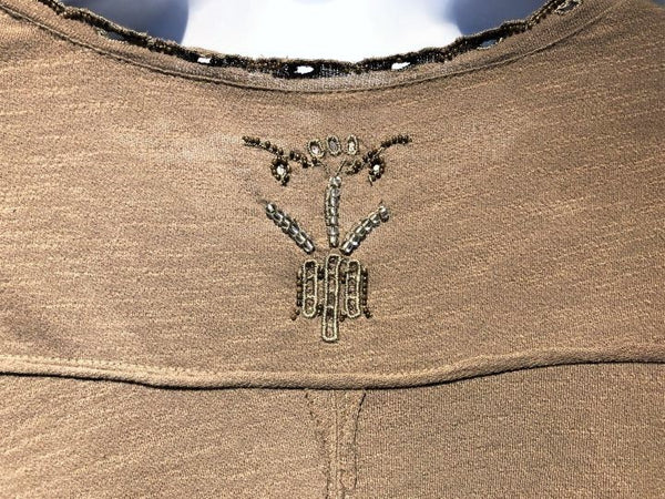 Free People Size XS Brown Beaded Top