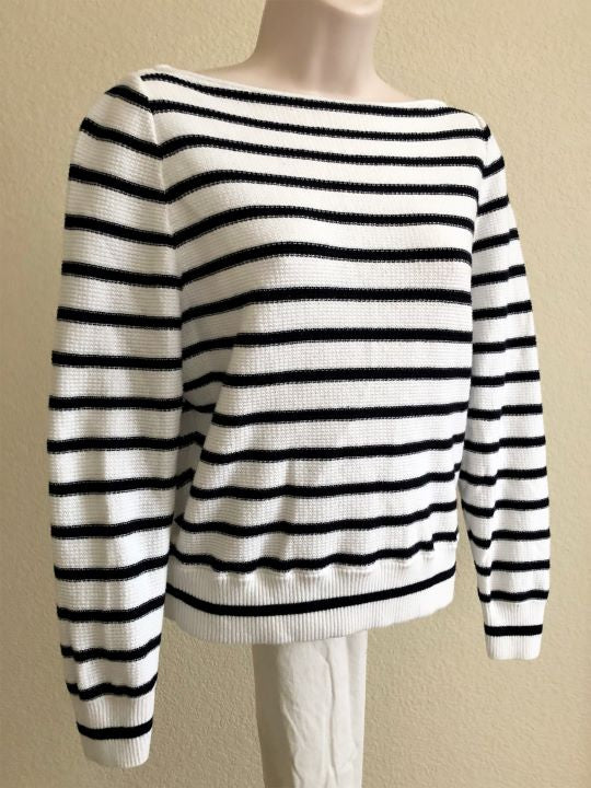 VINCE Size XS White Striped Top
