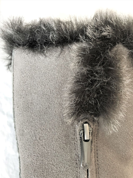 Sam Edelman Size 6 Gray Suede Fringed Fur Top Boots