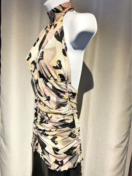 MISSONI Size 6 Silk Pink and Black Halter Top