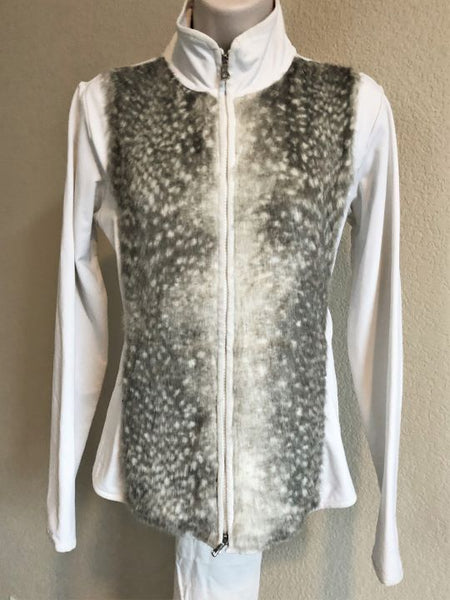 Bogner Size Medium White Faux Fur Jacket