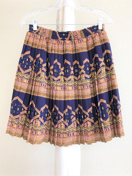 edme & esyllte Anthropologie Size Small Blue and Gold Skirt