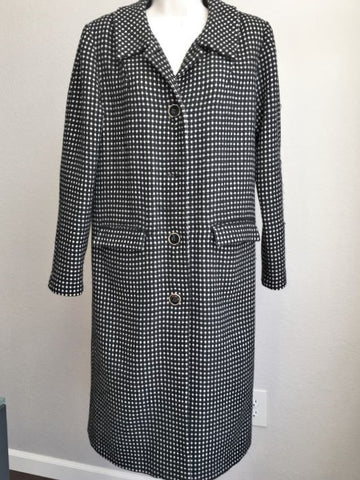Anna Sui Size 4 Black Polka Dot Long Wool Coat