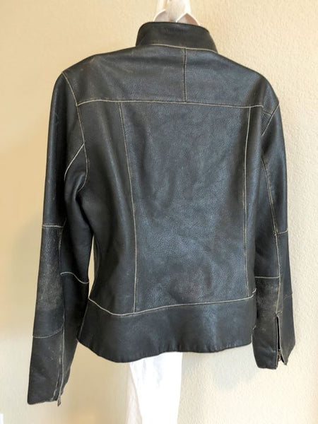 Andrew Marc LARGE Black Distressed Leather Jacket