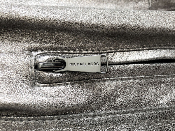 Michael Kors Size XL Silver Leather Jacket - NEW