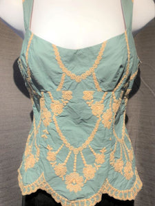 Nanette Lepore Size 2 Teal Embroidered Tank Top