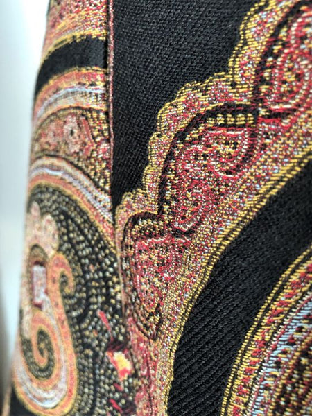 ETRO Size Small Black and Red Paisley Skirt