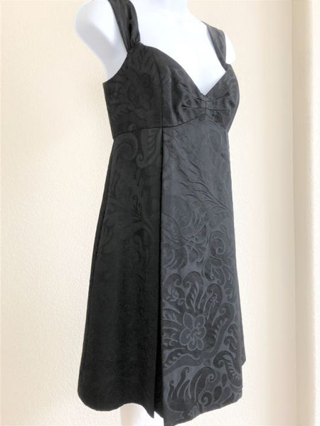 Milly Size 6 Black Floral Brocade Dress