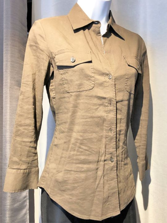 Theory PETITE Brown Linen Blend Button Up