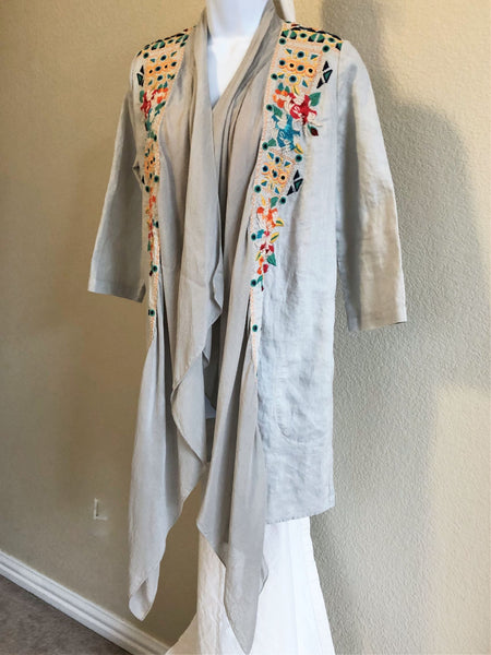 Johnny Was Size Small Gray Embroidered Blazer
