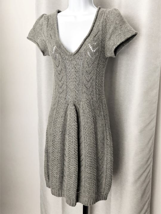 Anthro Sleeping on Snow XS Gray Knit Dress