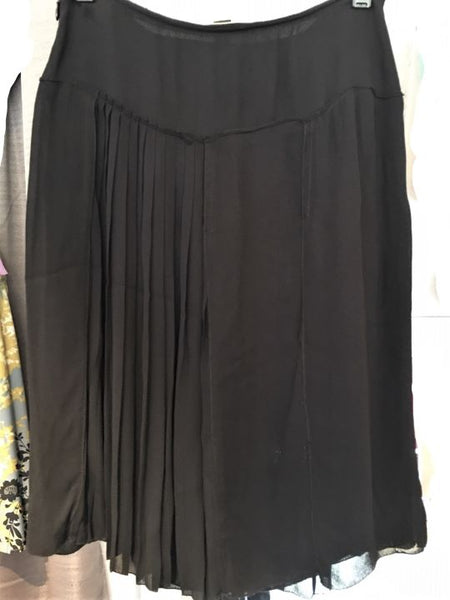 PRADA Size XS Black Chiffon Beaded Skirt