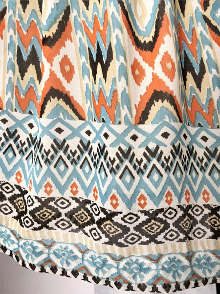 Anthro Mystree L Sleeveless Ikat Dress Blue Orange Brown