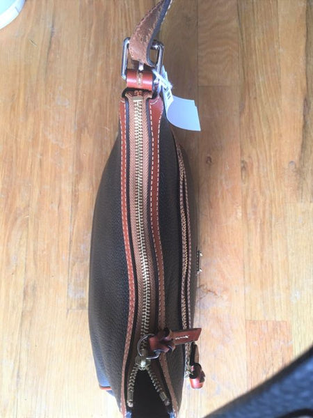 Dooney & Bourke Black Leather Bag Brown Trim