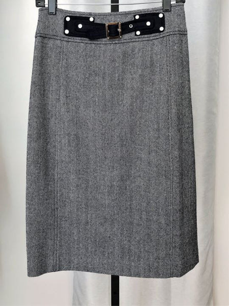 Tory Burch Size 6 Navy and White Tweed Skirt