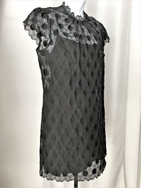 Milly Size 10 Black Floral Lace Dress