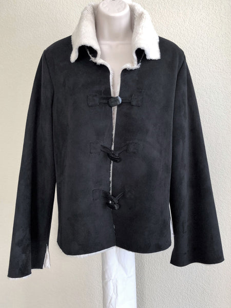 WHBM MEDIUM Black Faux Suede and Shearling Coat