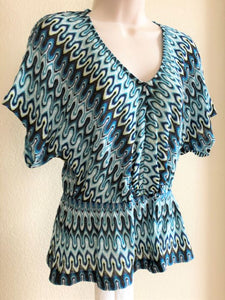 Trina Turk Size Small Blue Geometric Top