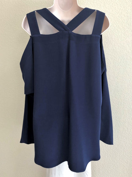 Ramy Brook Size Large Navy Cold Shoulder Top