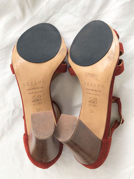 Sezane for Anthropologie Size 7.5 Rust Suede Sandals