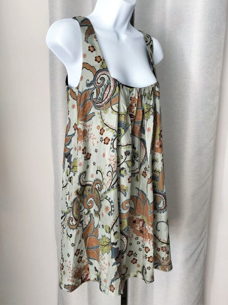 Karen Zambos SMALL Light Blue and Tan Silk Dress