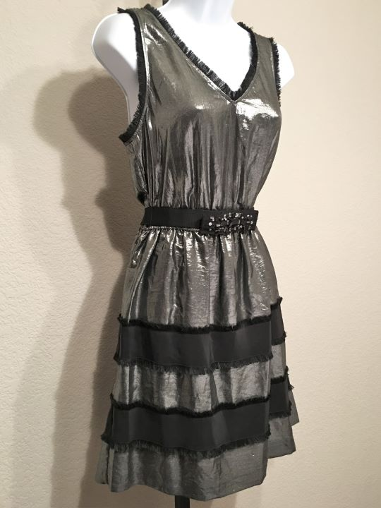 BCBGMaxazria Size Small Silver Metallic Fringe Dress