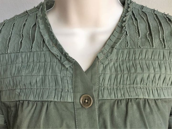 BCBGMaxazria Size XS Army Green Ruffle Layer Top