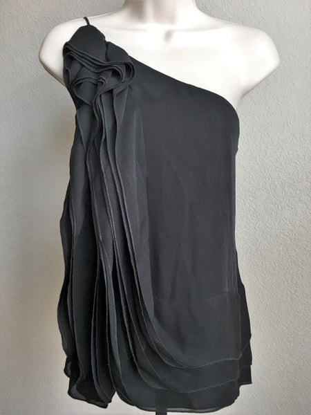 BCBGMaxazria XS Black Sleeveless One Shoulder Top