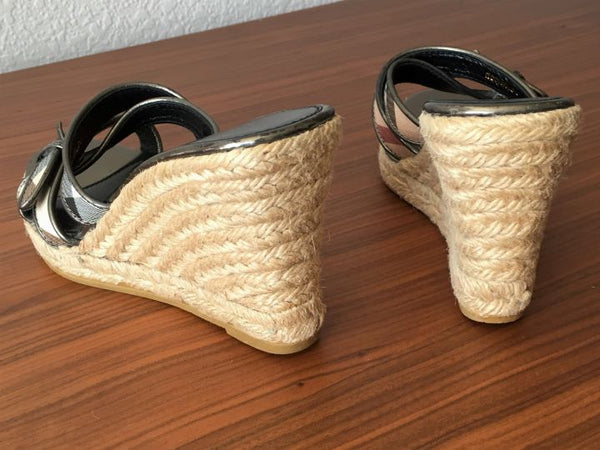 BURBERRY Size 5.5 Nova Check Wedge Sandals