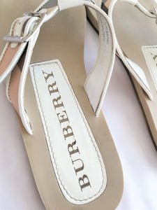 BURBERRY Size 7.5 Nova Check Thong Sandals
