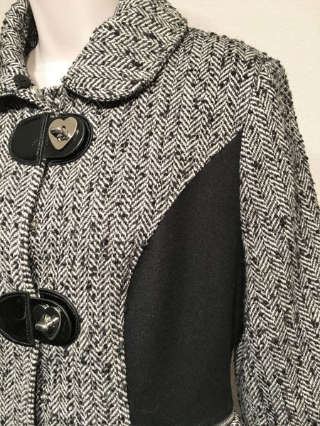 Betsey Johnson Size 8 Black and White Tweed Coat