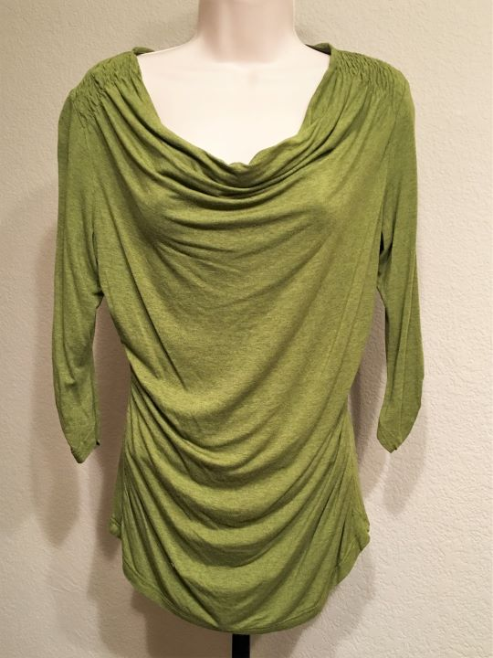 Betty Jackson Black Size 12 Olive Cowl Neck Top