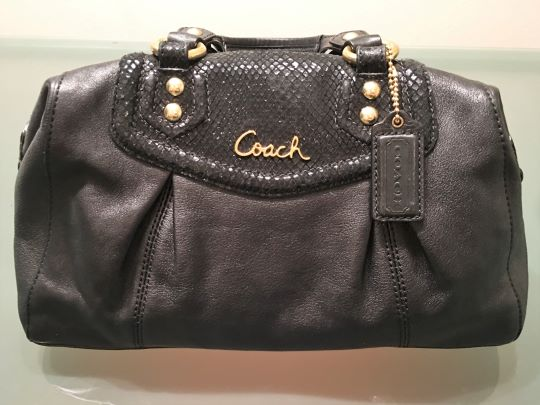 COACH Ashley Black Leather Bag with Snakeskin Trim