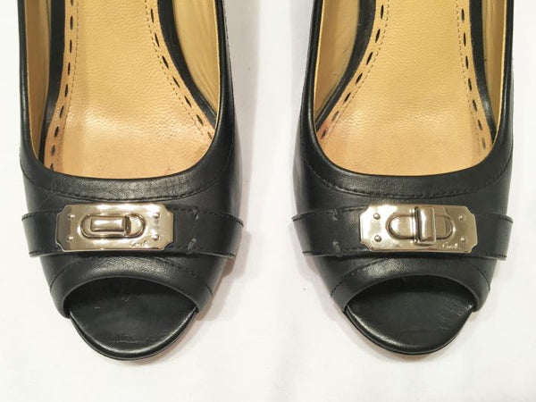 COACH Size 7 Thea Black Leather Peep Toe Wedges